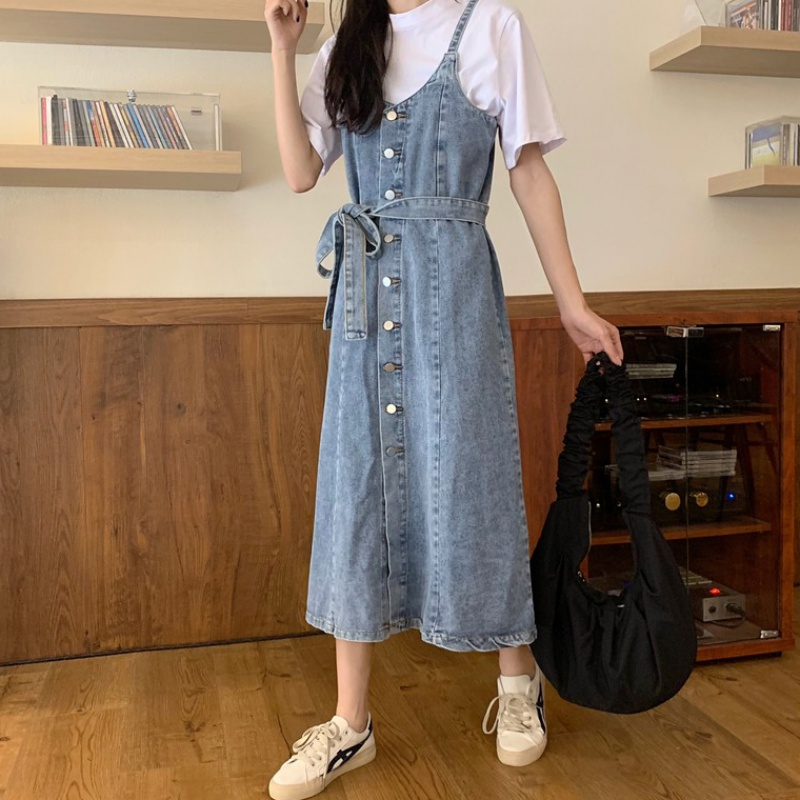 2020 new Korean version of net red single breasted lace up waist reducing denim shoulder skirt womens medium and long dress summer
