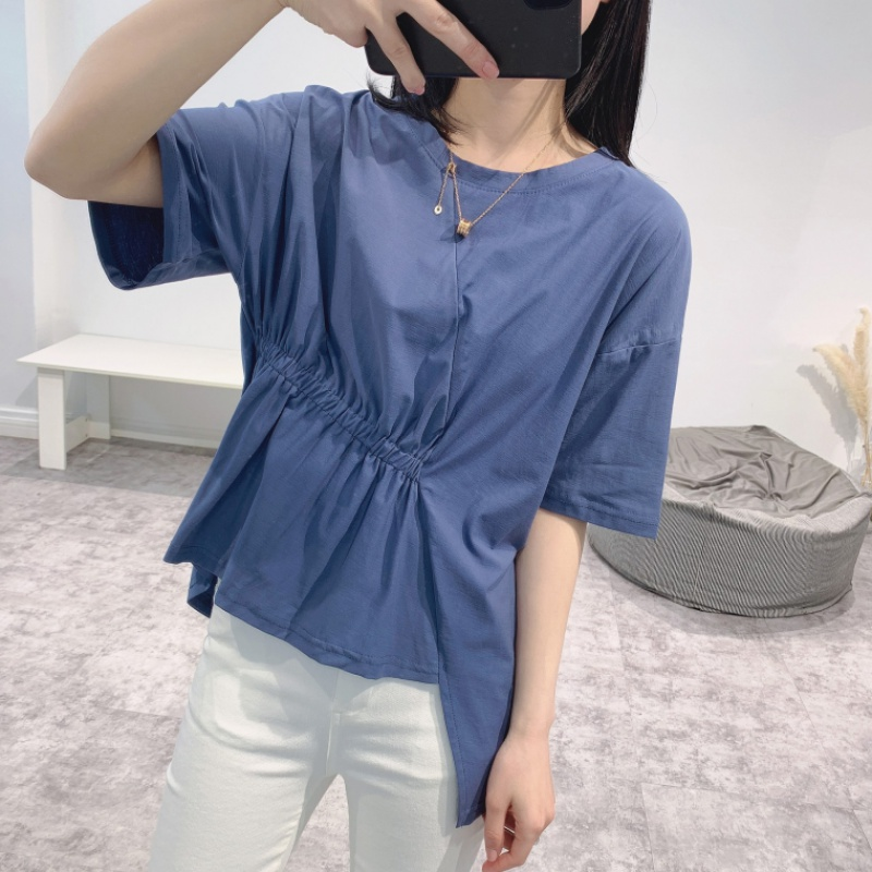 Chic pleated waist irregular hem solid color loose short sleeve T-shirt foreign style Pullover Top baby shirt girl Xia