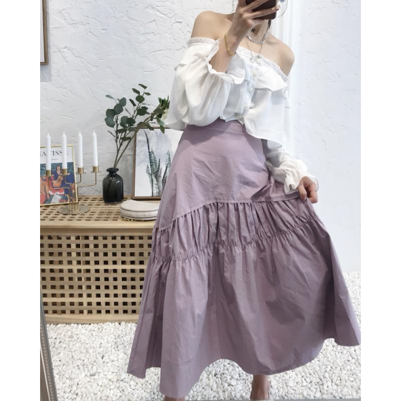 2020 versatile new style slim show Khmer simple skirt Hong Kong style retro high waist over knee pleats