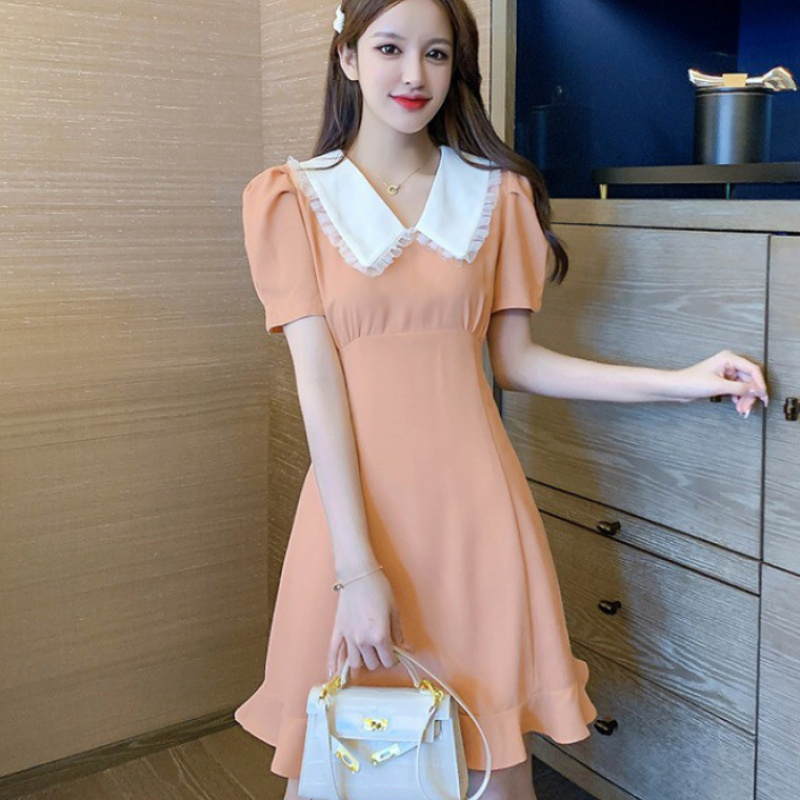 French style small crowd gathered waist Platycodon skirt 2020 summer flounced skirt baby collar A-line thin short sleeve dress