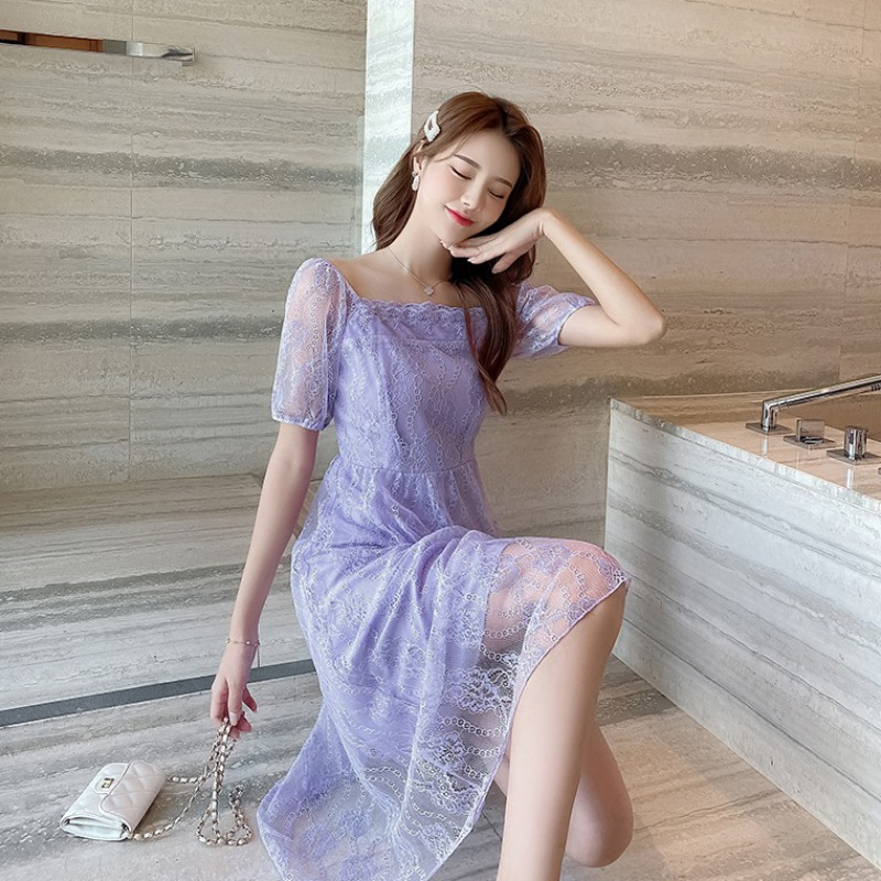 Lavender French square collar one shoulder lace dress fairy summer waist shows thin, fragrant taro purple sling skirt long skirt