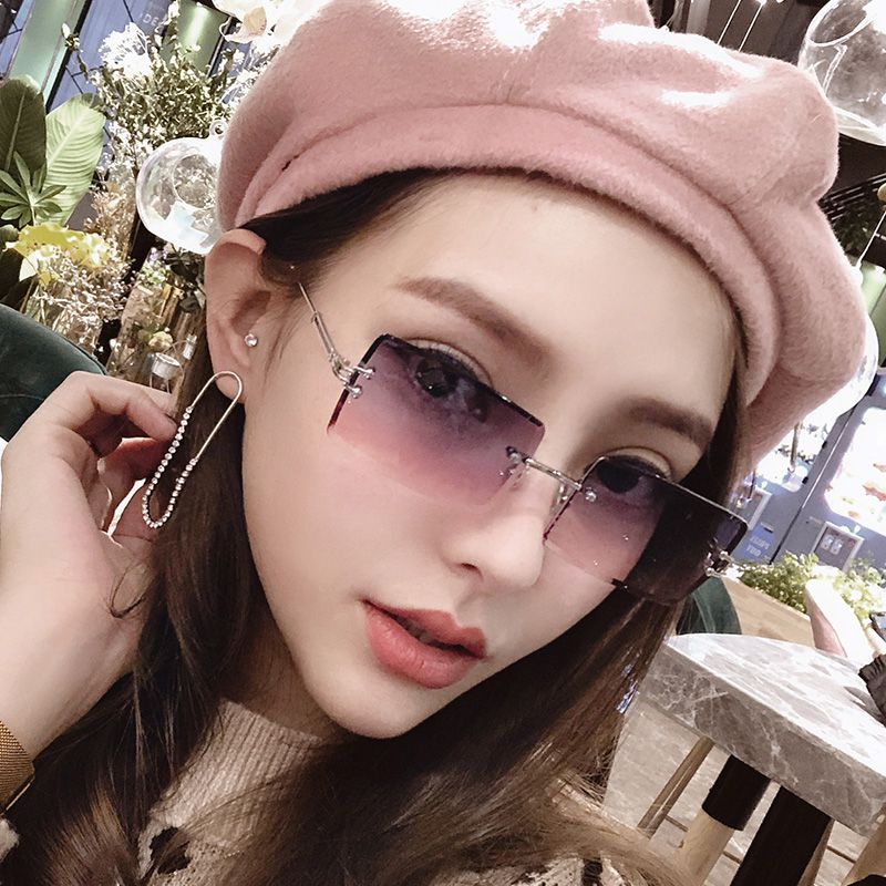 时尚超轻小镜片太阳眼镜女切边无框墨镜气质彩色透明ins嘻哈小框