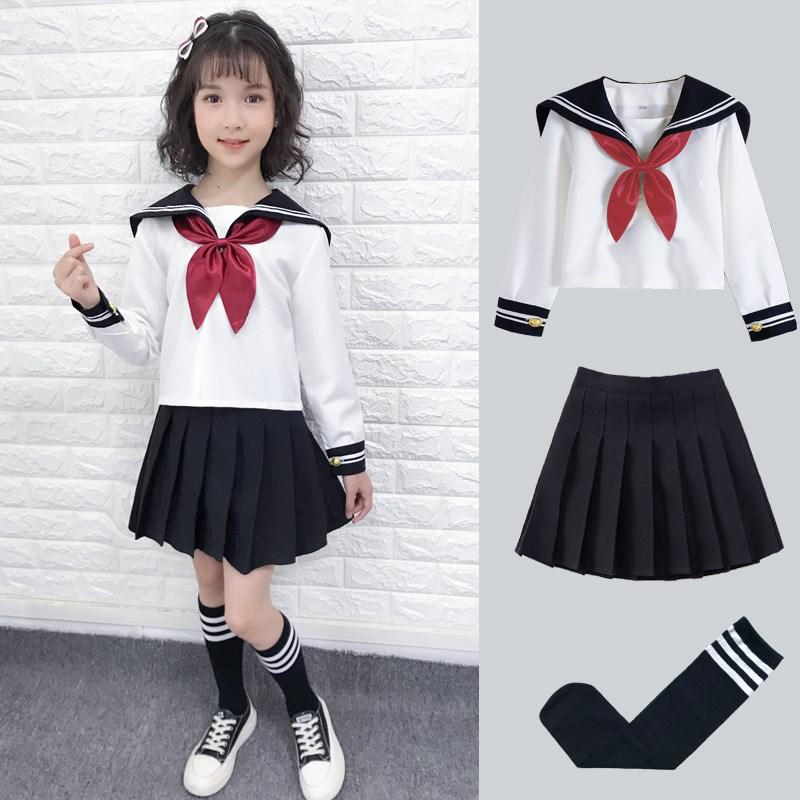 日系女童宝宝水手服中大童演出小学生儿童jk制服裙男女童校服套装