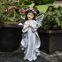 园艺摆件树脂小天使摆件小院子装饰美式乡村户外花园庭院装饰