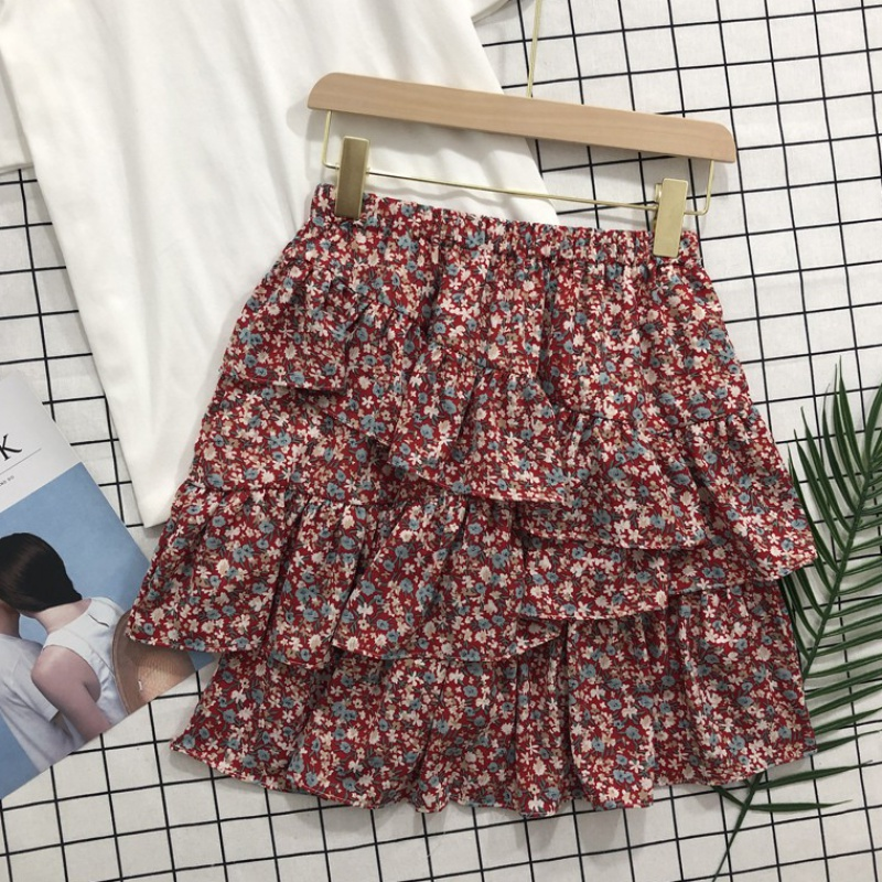 Floral skirt for womens spring and summer 2020 new high waist and slim look