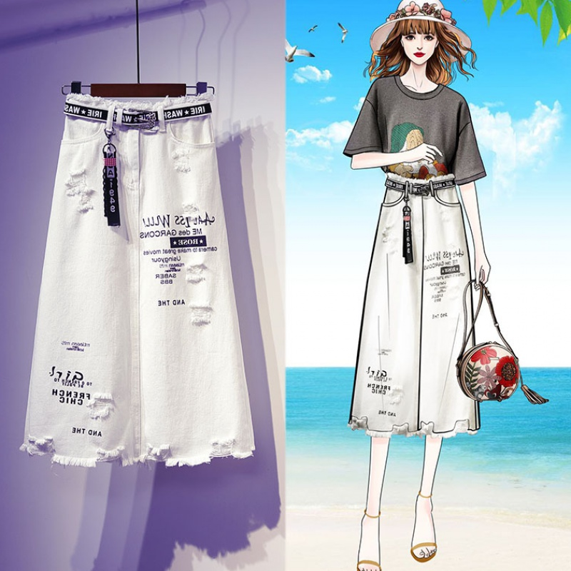 European station spring and autumn big hole white denim skirt skirt half skirt womens insrough hem buttock medium length one-step skirt