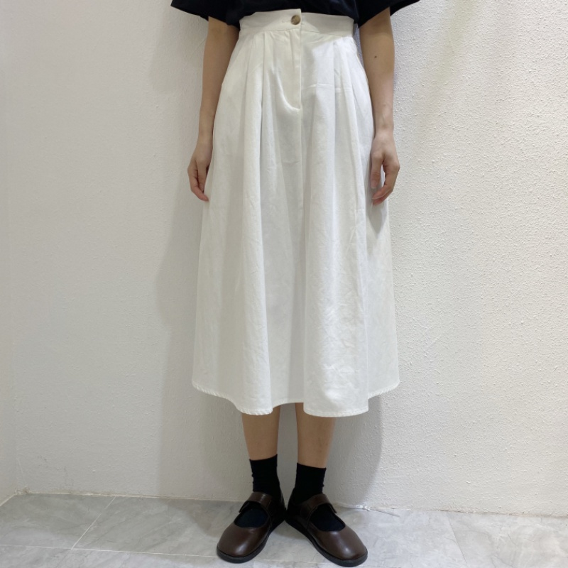 Retro style work clothes high waist, tight and thin A-line solid color over the knee mid length Japanese girls skirt fashion