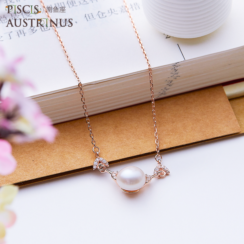 South Pisces Sterling Silver Necklace female light luxury minority dolphin fishtail pearl clavicle chain authentic gift box with exquisite meaning