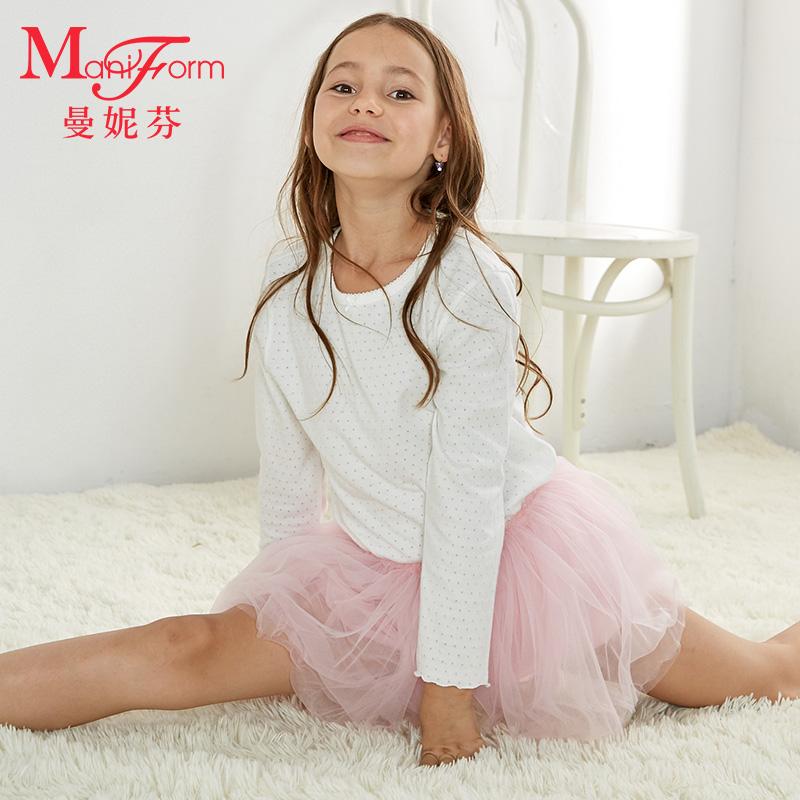 曼妮芬女童圆领长袖T恤 棉质保暖上衣儿童可爱家居服上衣20230033