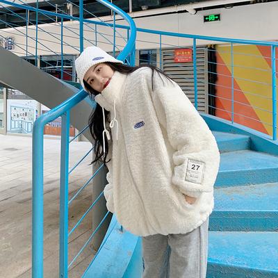 九儿同学 2020冬装新款韩版棉服宽松百搭加厚仿羊羔毛棉衣外套女