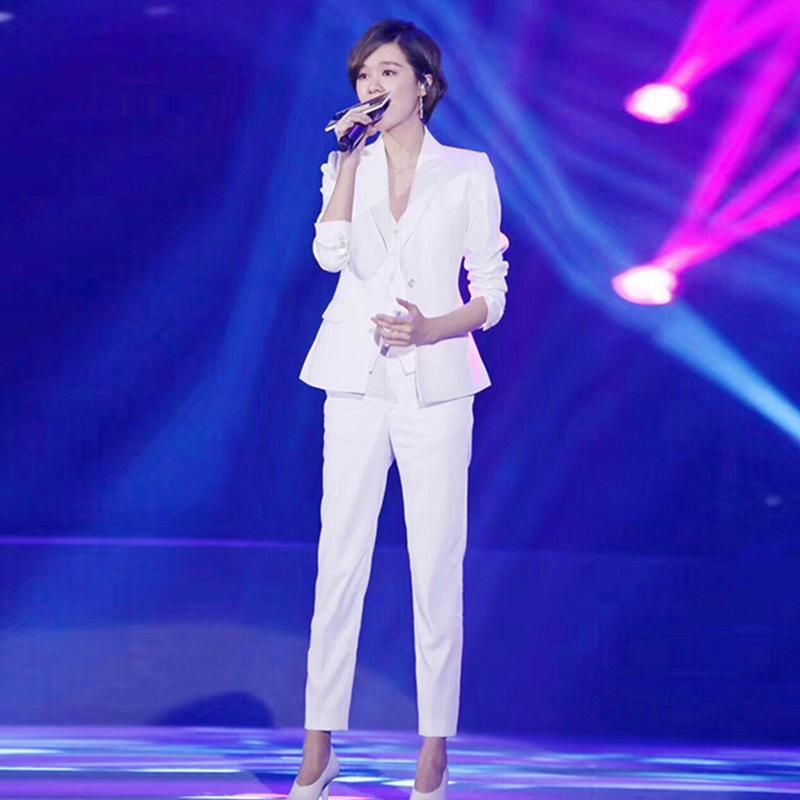 Stars same pink suit for womens spring Korean style small fragrance self-cultivation professional suit waistcoat three piece suit