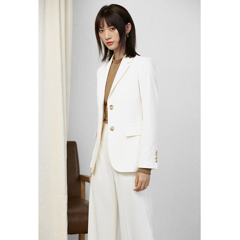 逸侣原创女装西装白色韩版宽松女短外套纯色2020秋季新款