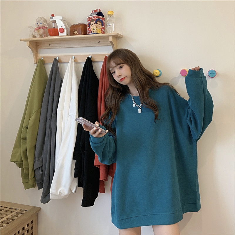 Autumn 2020 new womens clothing Korean loose thin long sleeve sweater fashion ins show thin medium long coat top