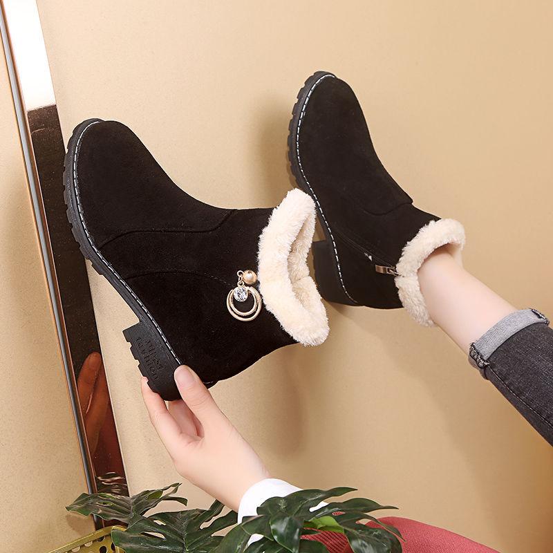 靴子女厚底棉鞋女冬2020新款加绒磨砂短靴女平底坡跟妈妈软底女靴