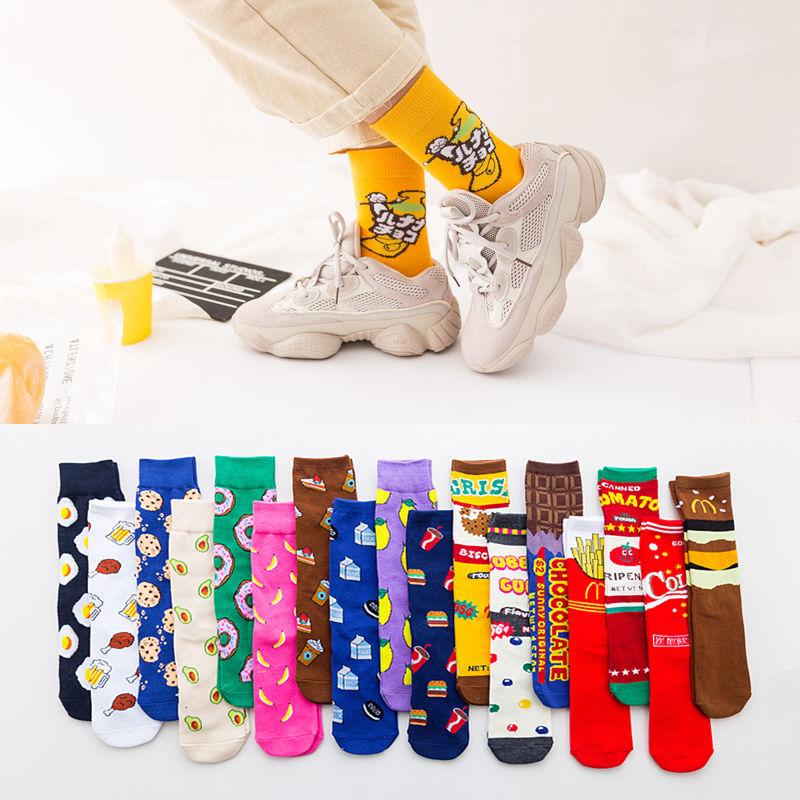 4双袜子女潮流中长筒街头嘻哈滑板袜韩版ins原宿风网红芝麻街袜子