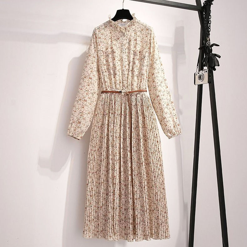 2021 spring dress new Floral Chiffon Dress French dress elegant dress FAIRY DRESS COVER belly show thin