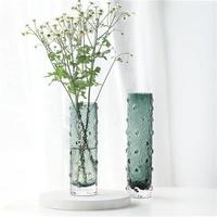 创色北欧现点圆柱形简约珠代时尚彩意透明玻璃花瓶水培桌面插花器