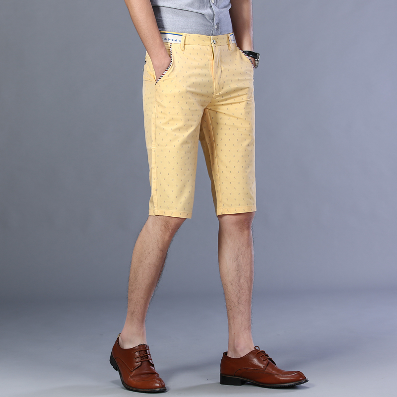 Summer thin yellow flower casual pants Golf Shorts mens fashion brand straight Pants Capris beach pants sports pants