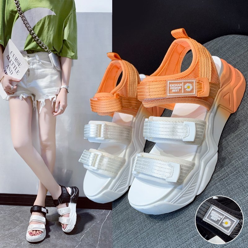Sandals girl 2020 new summer fairy with sneakers, muffins, thick soles, students all-around fashion beach shoes