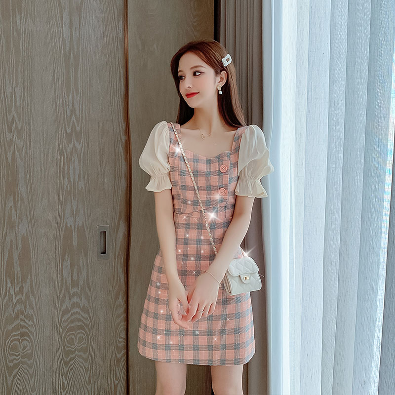 Summer super fairy goddess fan Xiaoqing fashion fairy tale style sub skirt Sequin short sleeve dress splicing