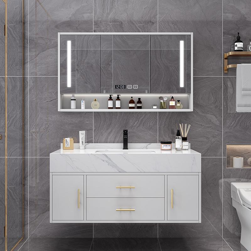 轻奢浴室柜组合现代简约大理石洗脸台洗手台盆卫生间洗漱台挂墙式
