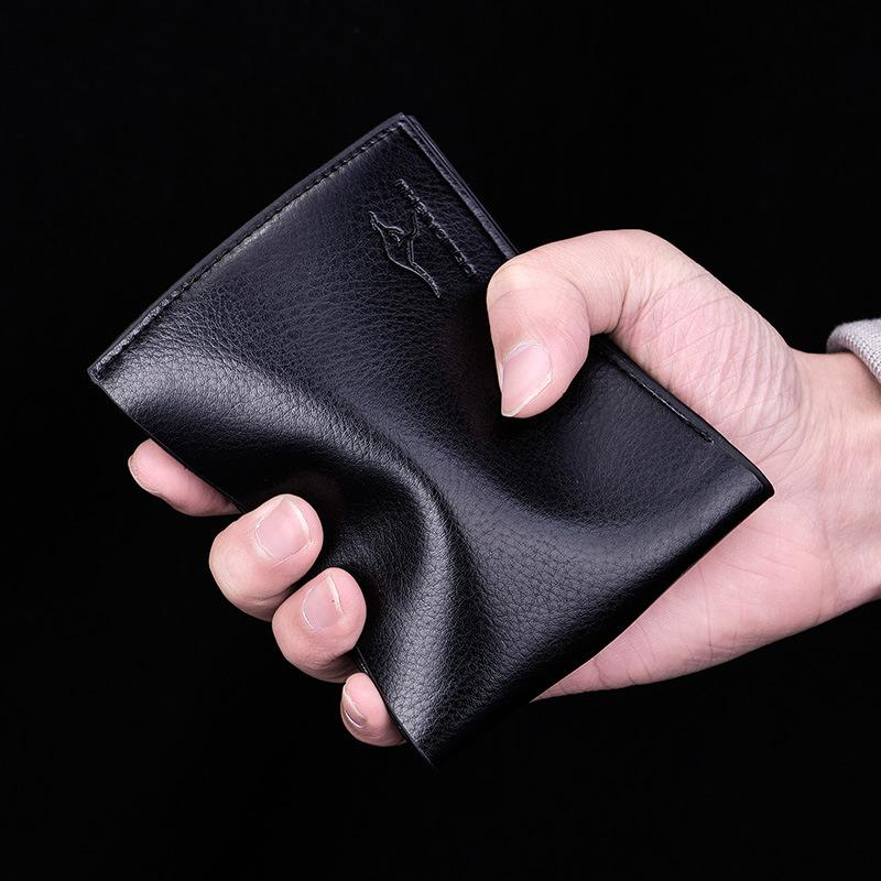 Wallet mens short ultra thin zipper horizontal business leisure soft leather wallet multi card youth student folding Wallet