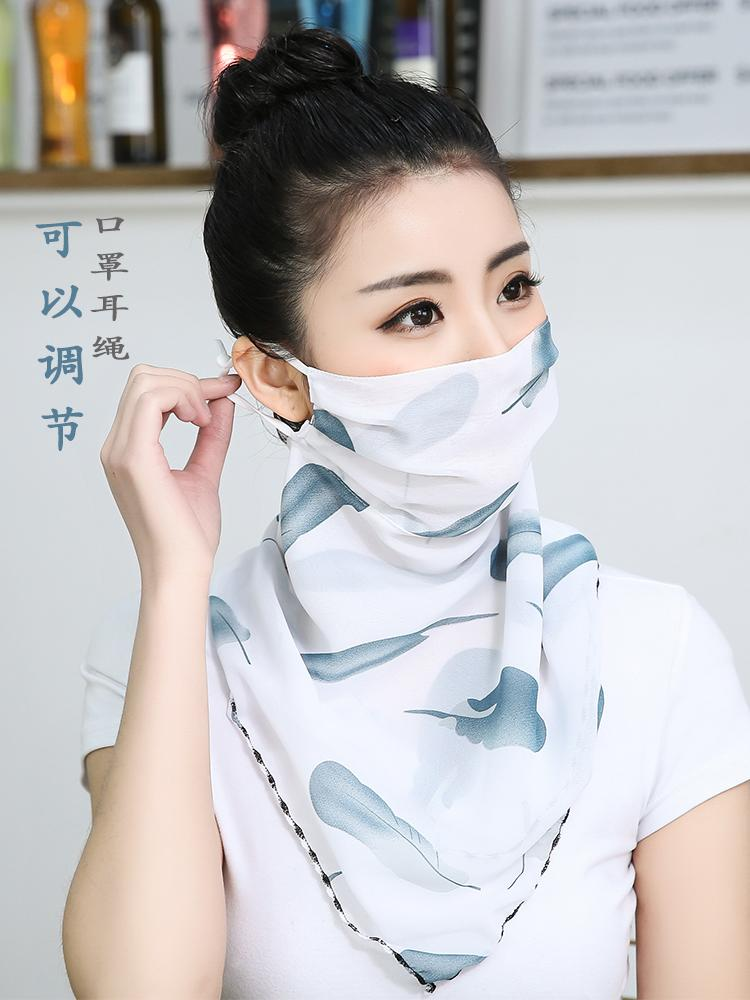 Versatile womens sunscreen face mask, triangular scarf face mask, UV proof Bib cover, neck scarf, thin scarf, summer