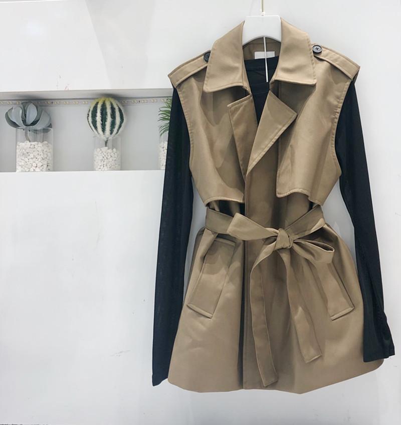东大门新款绑带收腰西装领无袖马夹外套女韩版宽松显瘦外穿+打底