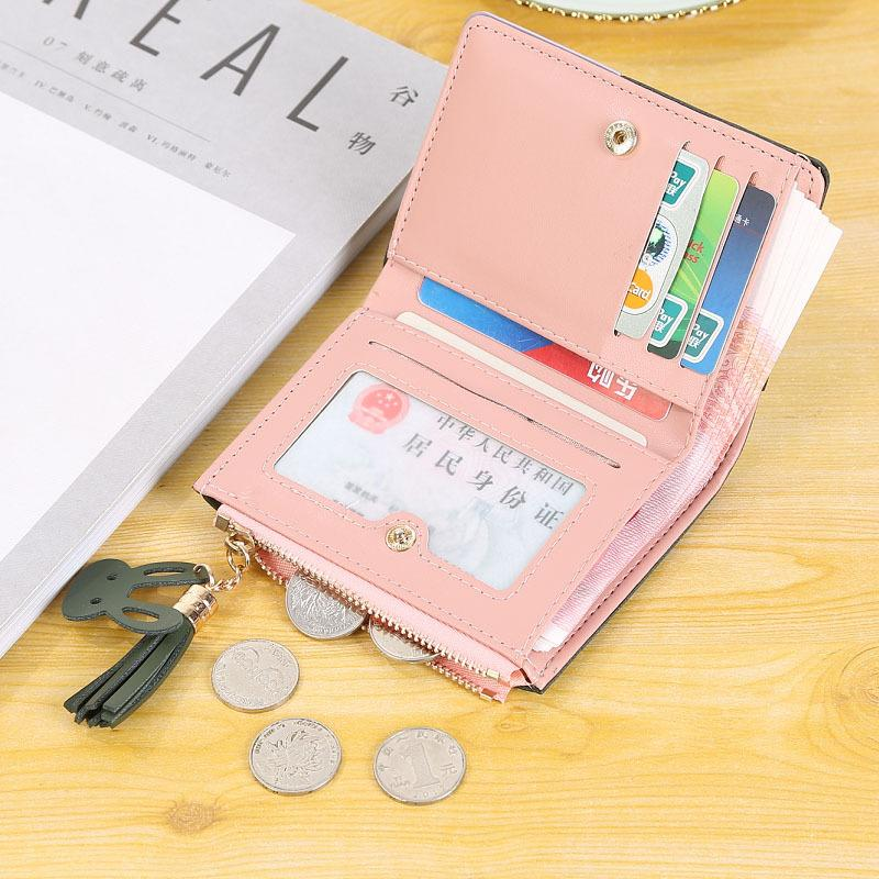 Wallet Female Short Student Korean Version cute 2019 new fashion ultra thin simple two fold change bag fashion