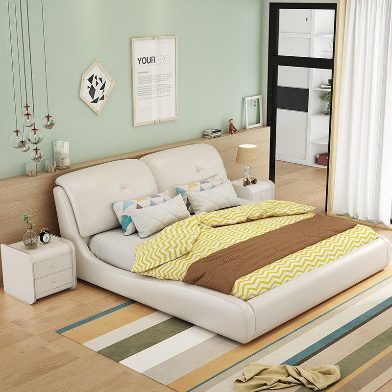 极简皮艺真皮床现代小户型主卧1.8米y双人床轻奢榻榻米气动储物床