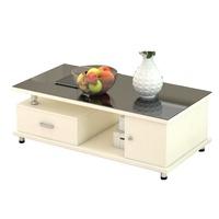 。鸿顺隆钢化玻璃茶几简约现代客厅木质小户型长方形桌子电视柜组