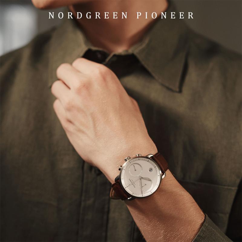 丹麦 Nordgreen欧美手表男大表盘42mm真皮表带不锈钢圆盘腕表