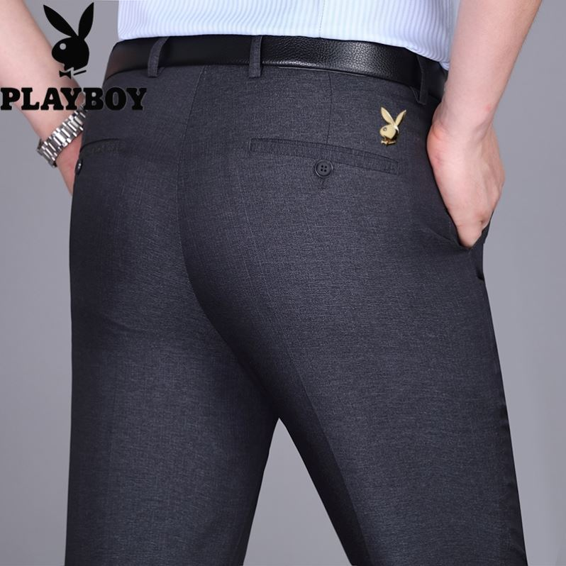 Playboy middle aged and old age trousers mens mulberry silk summer suit
