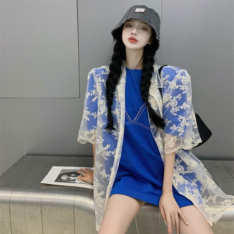 泡泡袖蕾丝衬衫女夏天设计感小众宽松薄款防晒罩衫双层领学生上衣