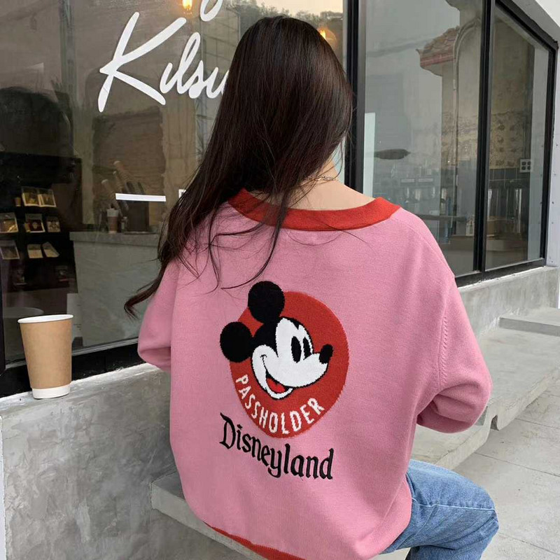 Cartoon pattern cardigan sweater womens simple and versatile college style long sleeve splicing contrast color 2020 Korean spring dress