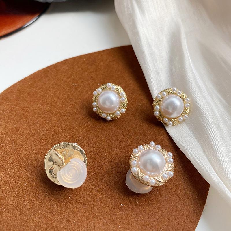 文香耳夹。无痛高级感珍珠花边银针耳钉耳环无耳洞耳夹耳饰女