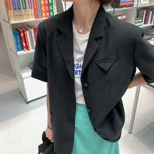 白水女黑色短袖小西装外套女潮夏季薄款垂感百搭韩版宽松显瘦上衣
