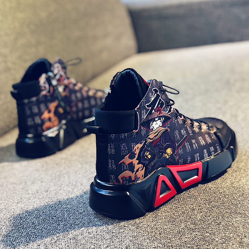 Fox slave country tide air force No. 1 high top board shoes mens autumn new printed personalized tide shoes running casual sports shoes