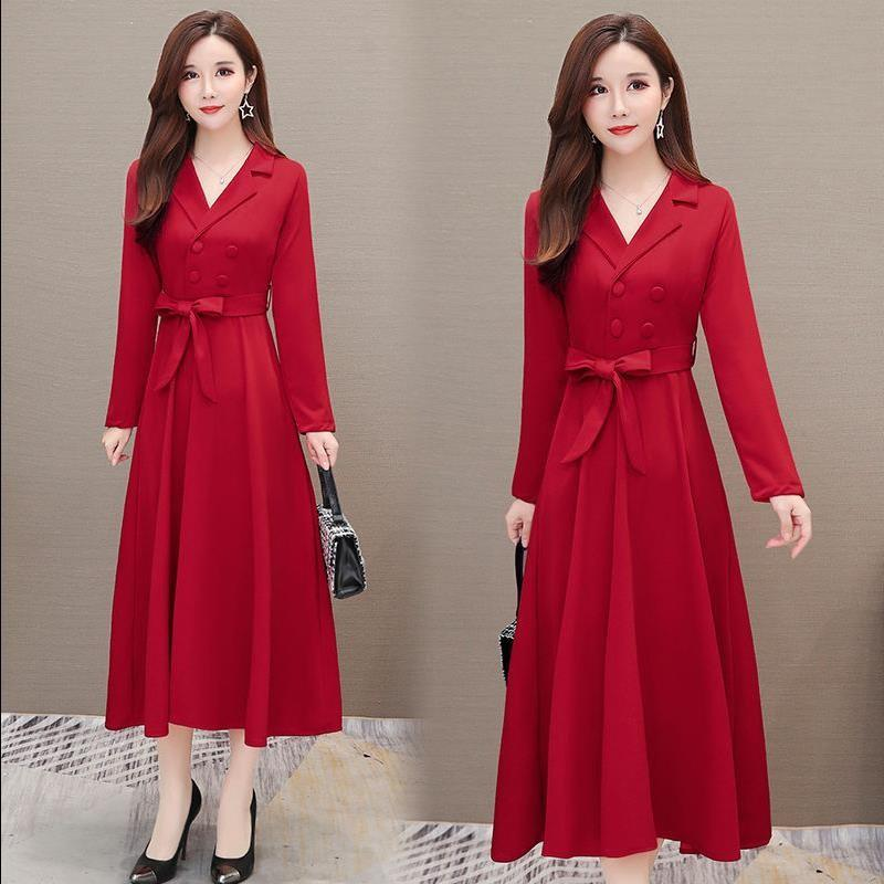Red dress womens long skirt new style in spring and autumn 2019 Korean long sleeve suit collar skirt in autumn