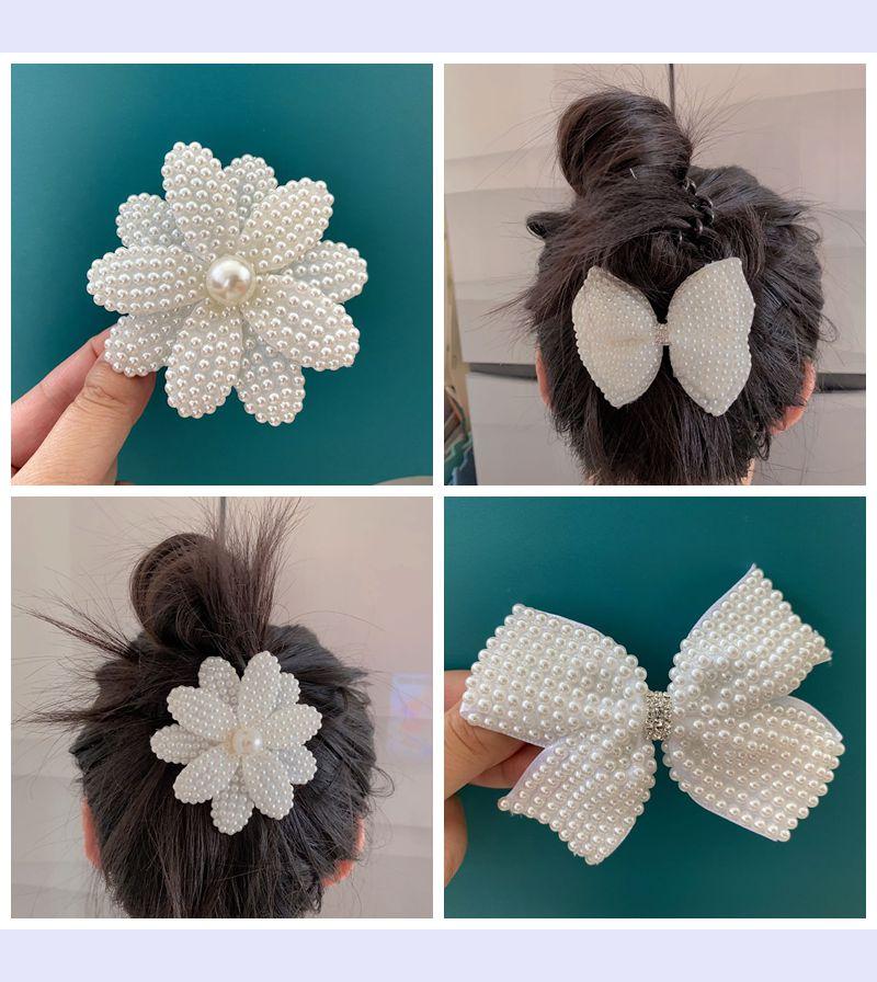Net red pearl bow flower girl hairpin Korean children girl side clip large hairpin