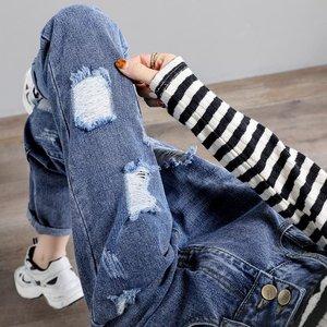 巨软破洞j夏薄款宽松直筒潮牛仔裤