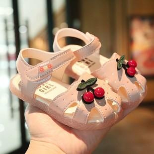 时尚 软底小童小公主女童2020新款 真皮包头1 女宝宝凉鞋 5岁4童鞋