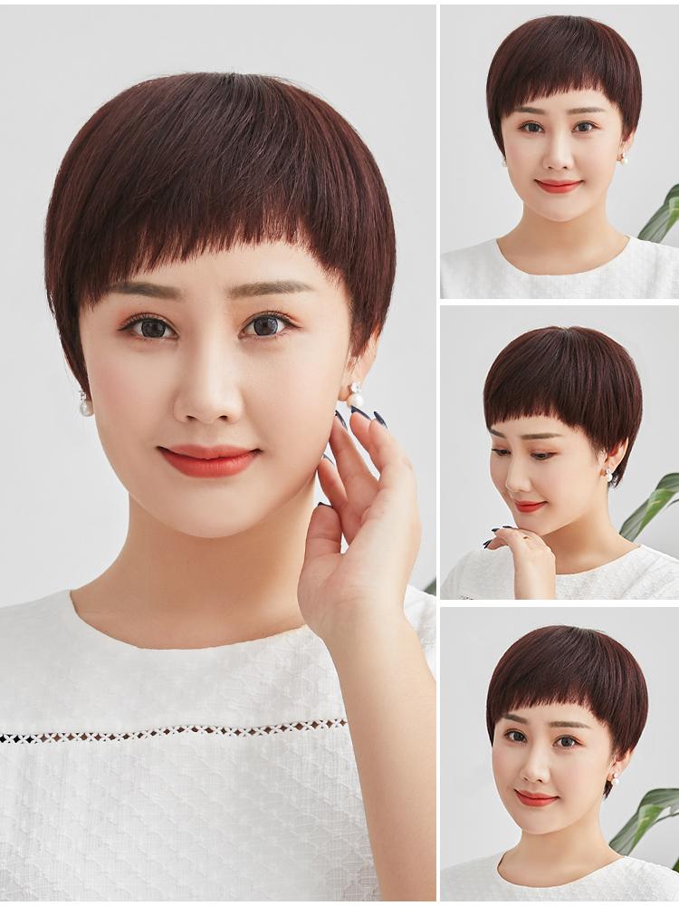 高档假发女短发中老年时尚斜刘海送妈妈化疗真人发丝自然蓬松假发