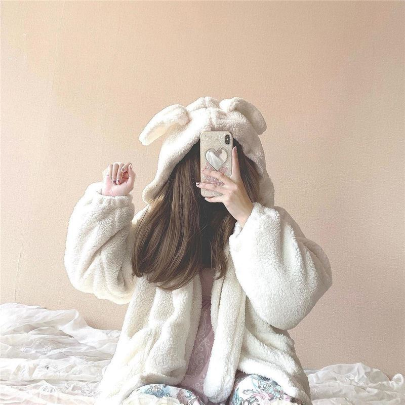 Coat with moving ears womens thickened double face Plush Lolita soft girl hooded rabbit ear lamb wool coat
