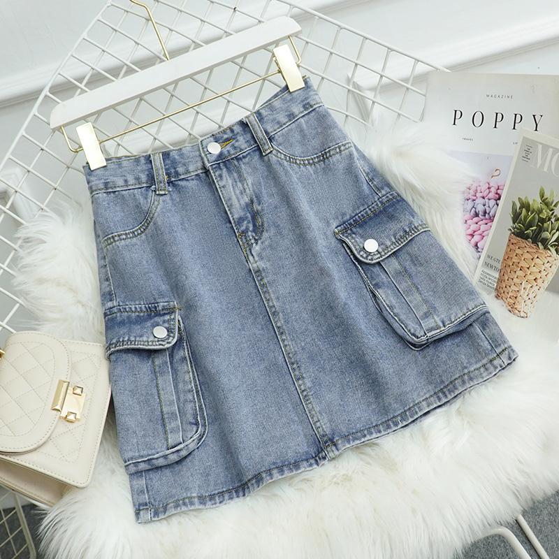 韩国蓝色大口袋水洗牛仔短裙2021夏新款高腰显瘦内衬a字半身裙女