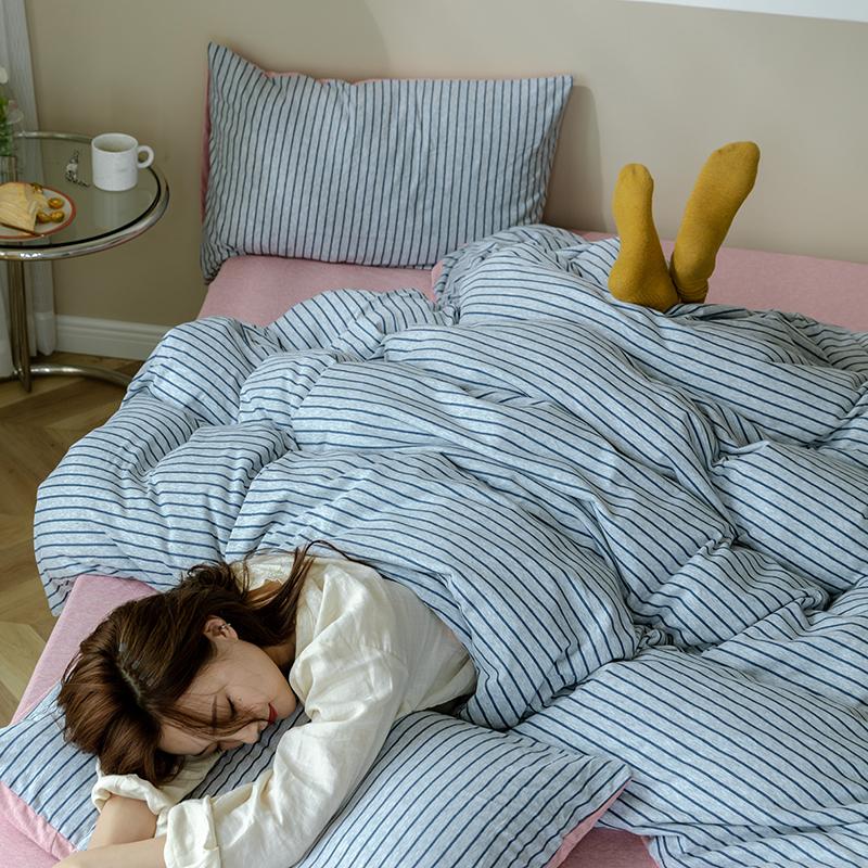 全棉天竺棉四件套纯棉针织棉三件套裸睡条纹亲肤被套简约床上用品