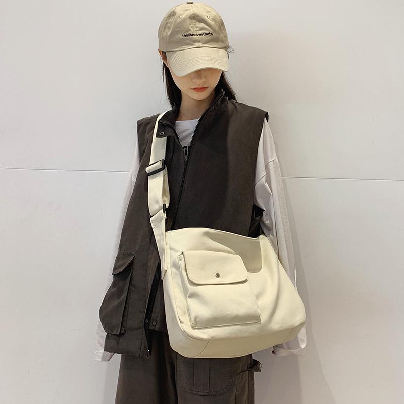 日系文艺帆布包工装风男女学生上课包单肩斜挎包大容量复古邮差包