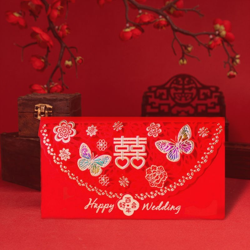Western style red envelope creative hollow out color gold is a new wedding red envelope double happiness thick paper red envelope double happiness gift.