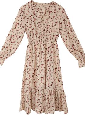 高冷御姐风小个子碎花裙女2020新款秋冬连衣裙女收腰显瘦气质长裙