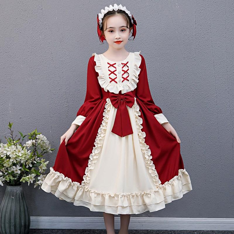 洛丽塔lolita连衣裙春秋儿童全套公主裙洋装萝莉塔女童西班牙裙子